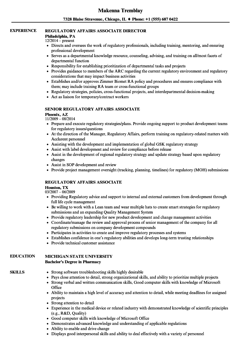 Regulatory Affairs Associate Resume