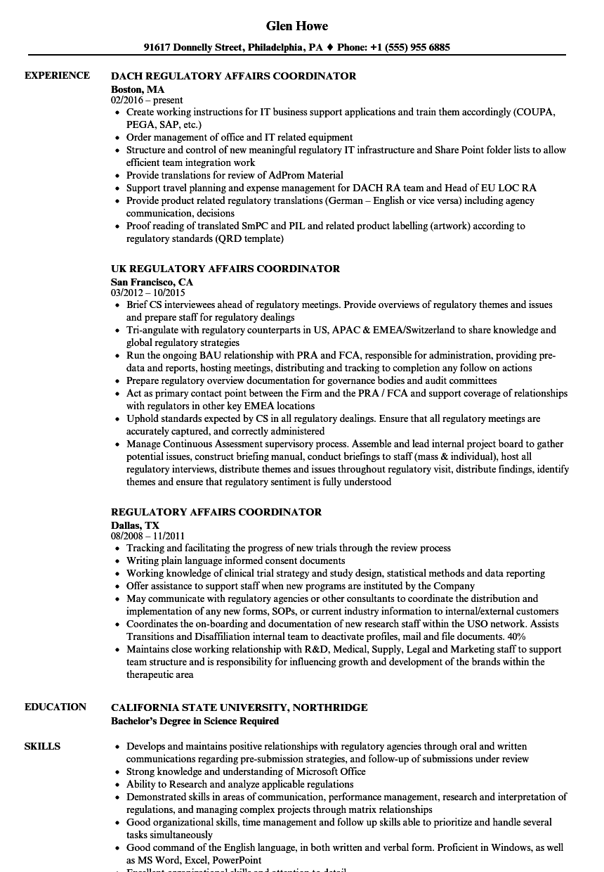 regulatory affairs coordinator resume samples