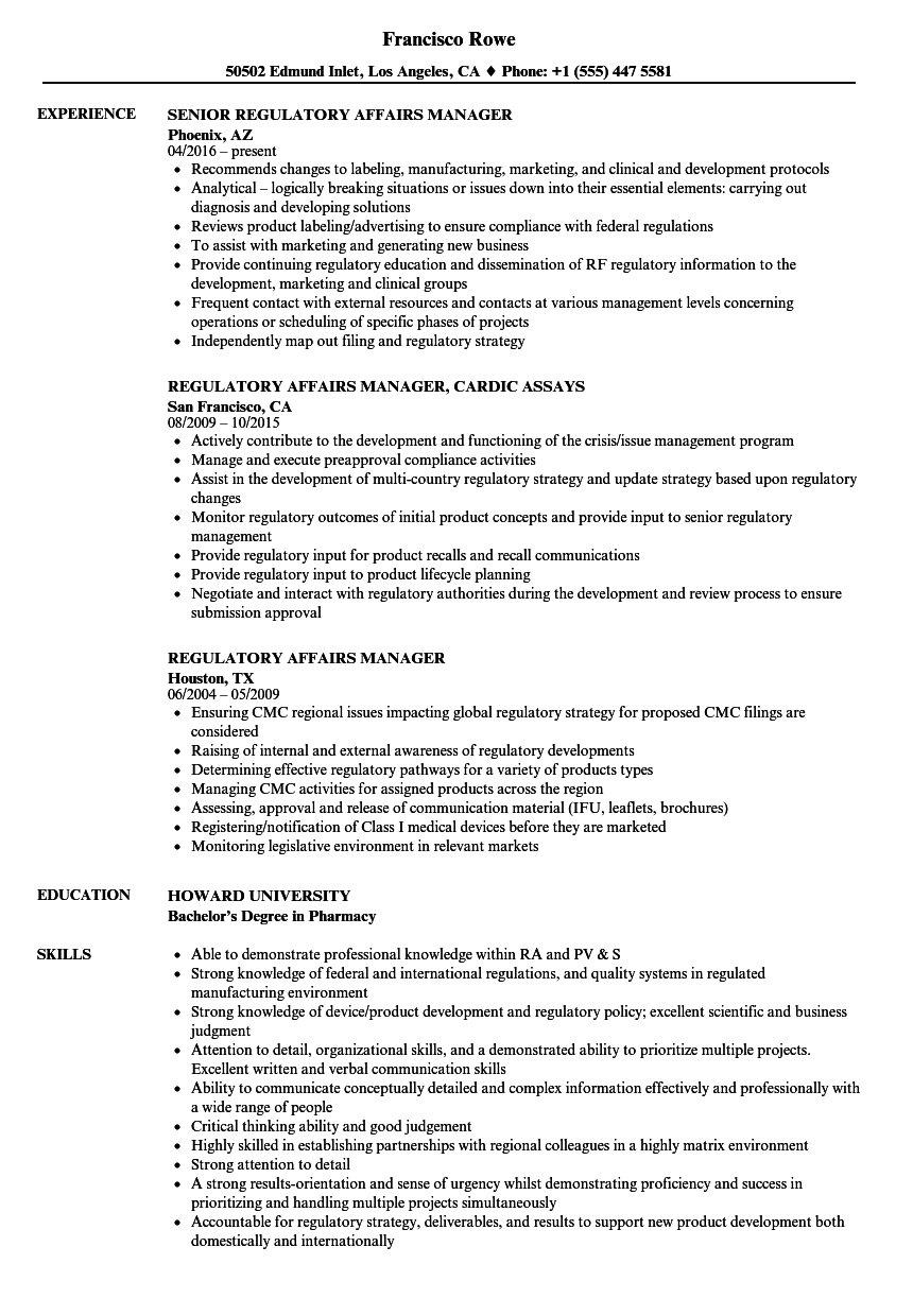 Regulatory affairs manager resume samples velvet jobs for Pharmaceutical regulatory affairs resume sample