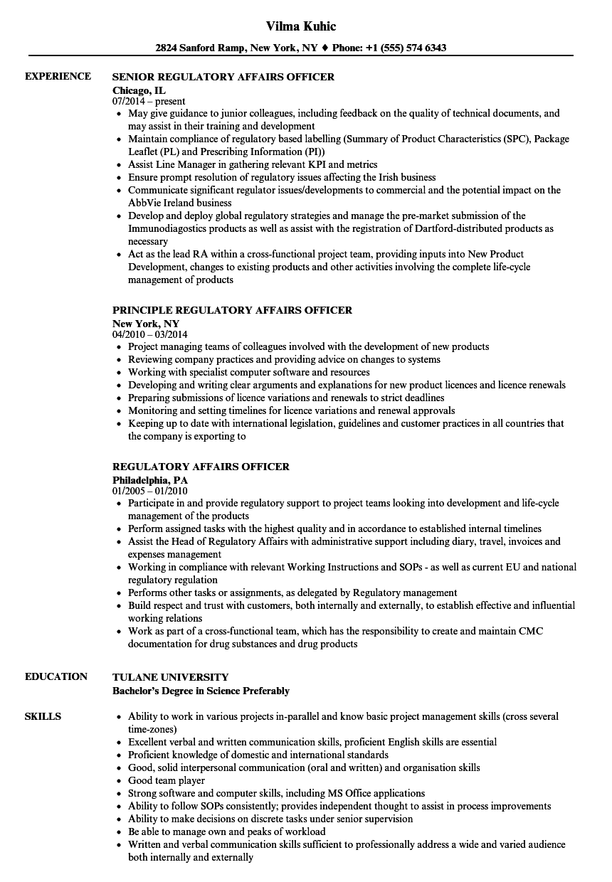 regulatory affairs officer resume samples