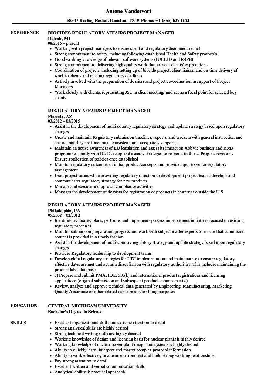 download regulatory affairs project manager resume sample as image file - Sample Resume Pharmaceutical Project Manager