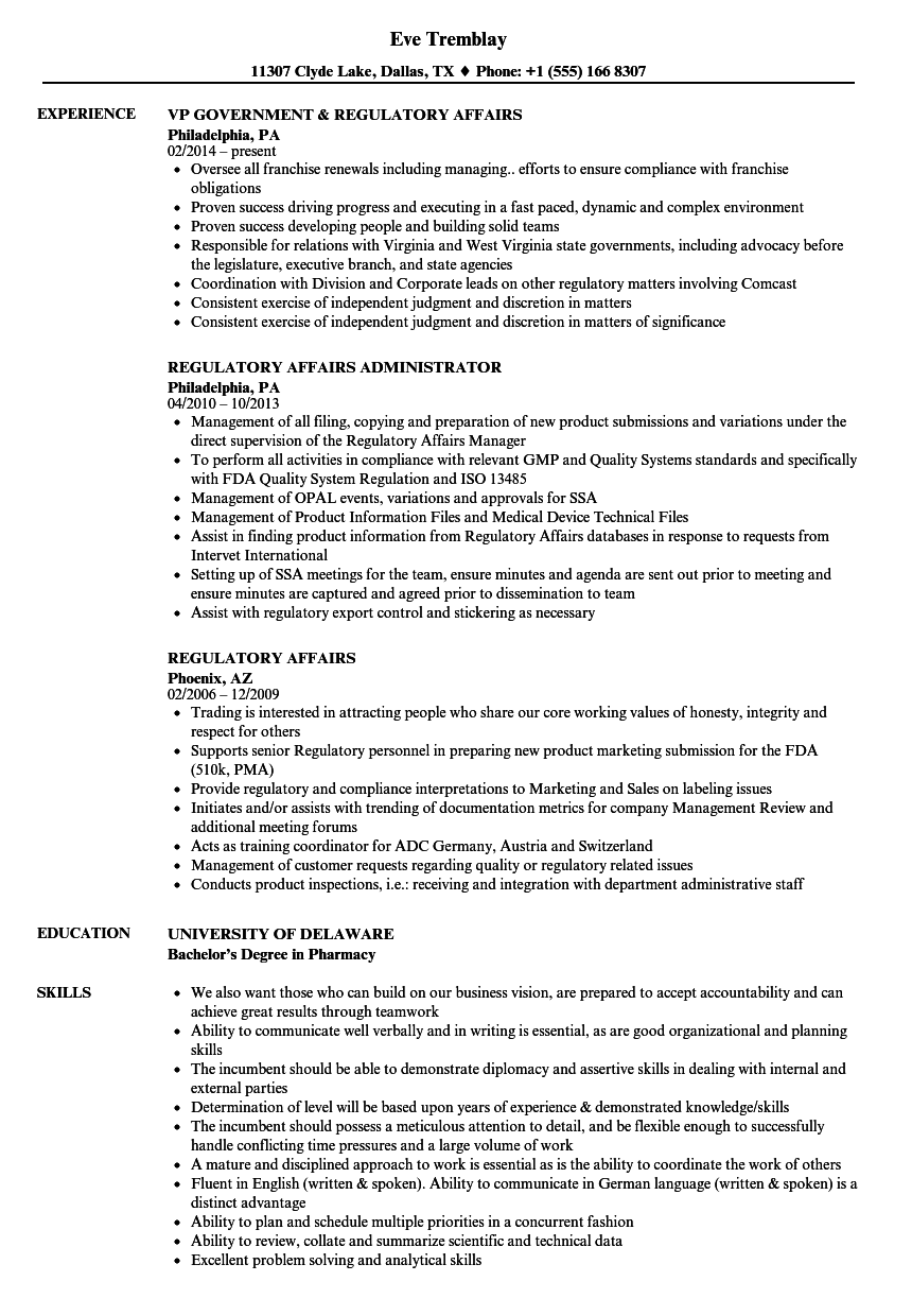 Regulatory Affairs Resume Samples | Velvet Jobs