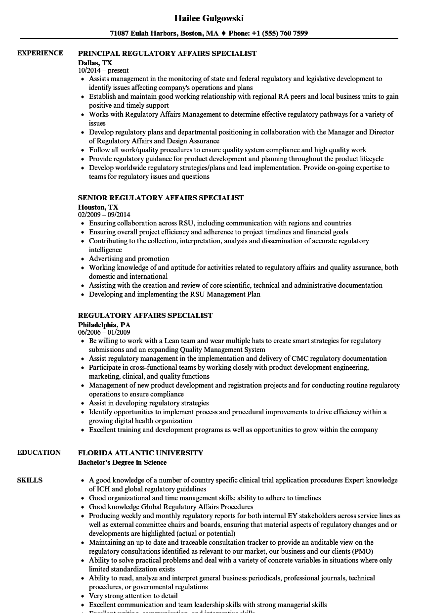 regulatory affairs specialist resume samples