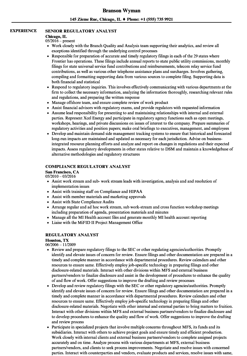 Regulatory Analyst Resume Samples | Velvet Jobs