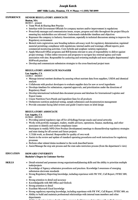 regulatory associate resume samples