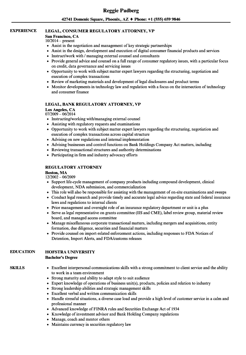 regulatory attorney resume samples