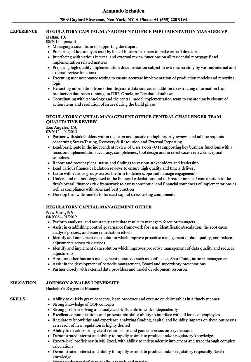 Regulatory Capital Management Office Resume Samples | Velvet Jobs