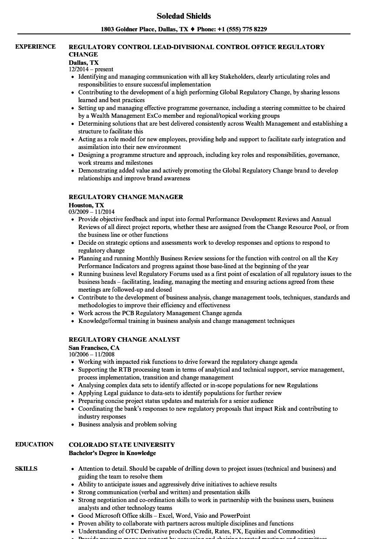 regulatory change resume samples