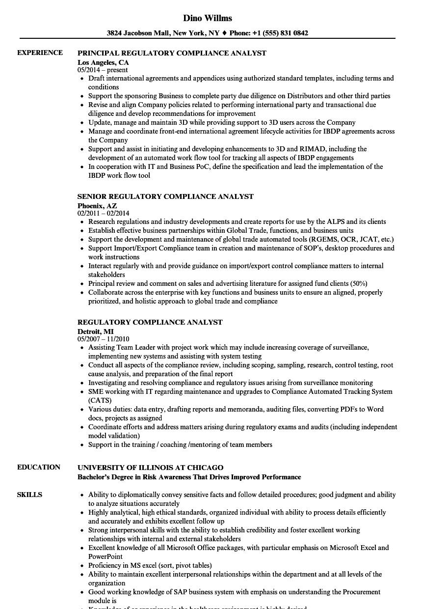 Regulatory Compliance Analyst Resume Samples Velvet Jobs