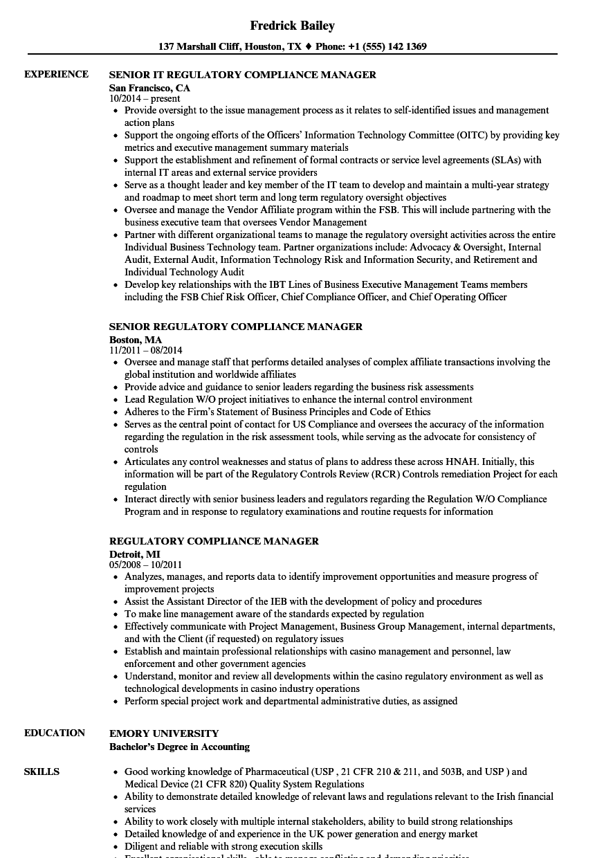 Regulatory Compliance Manager Resume Samples | Velvet Jobs