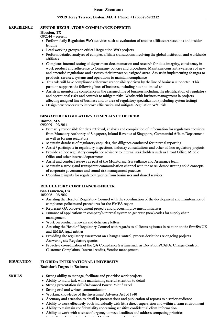 regulatory compliance officer resume samples