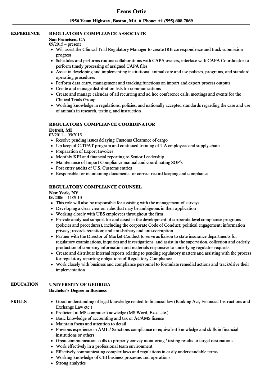 Regulatory Compliance Resume Samples | Velvet Jobs