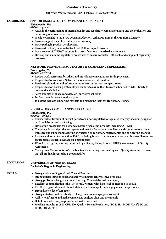regulatory compliance specialist resume samples velvet jobs