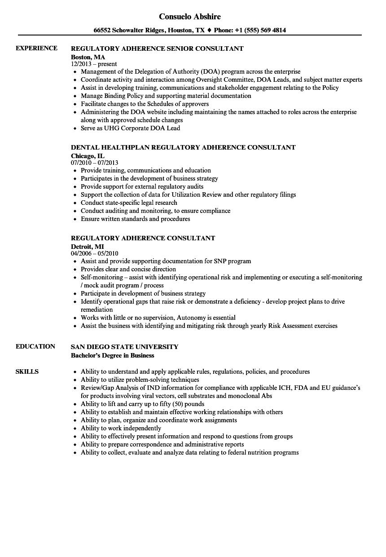 Download Regulatory Consultant Resume Sample As Image File