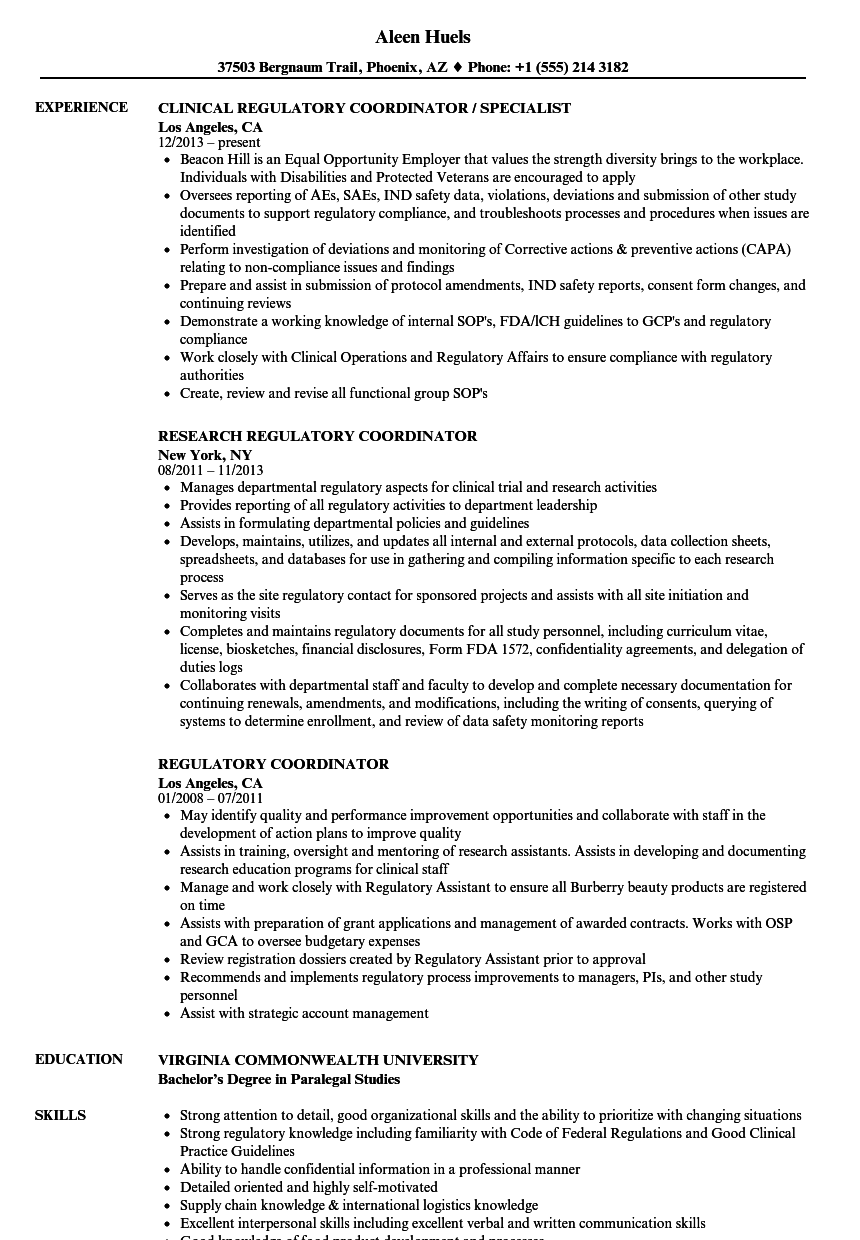 regulatory coordinator resume samples velvet jobs
