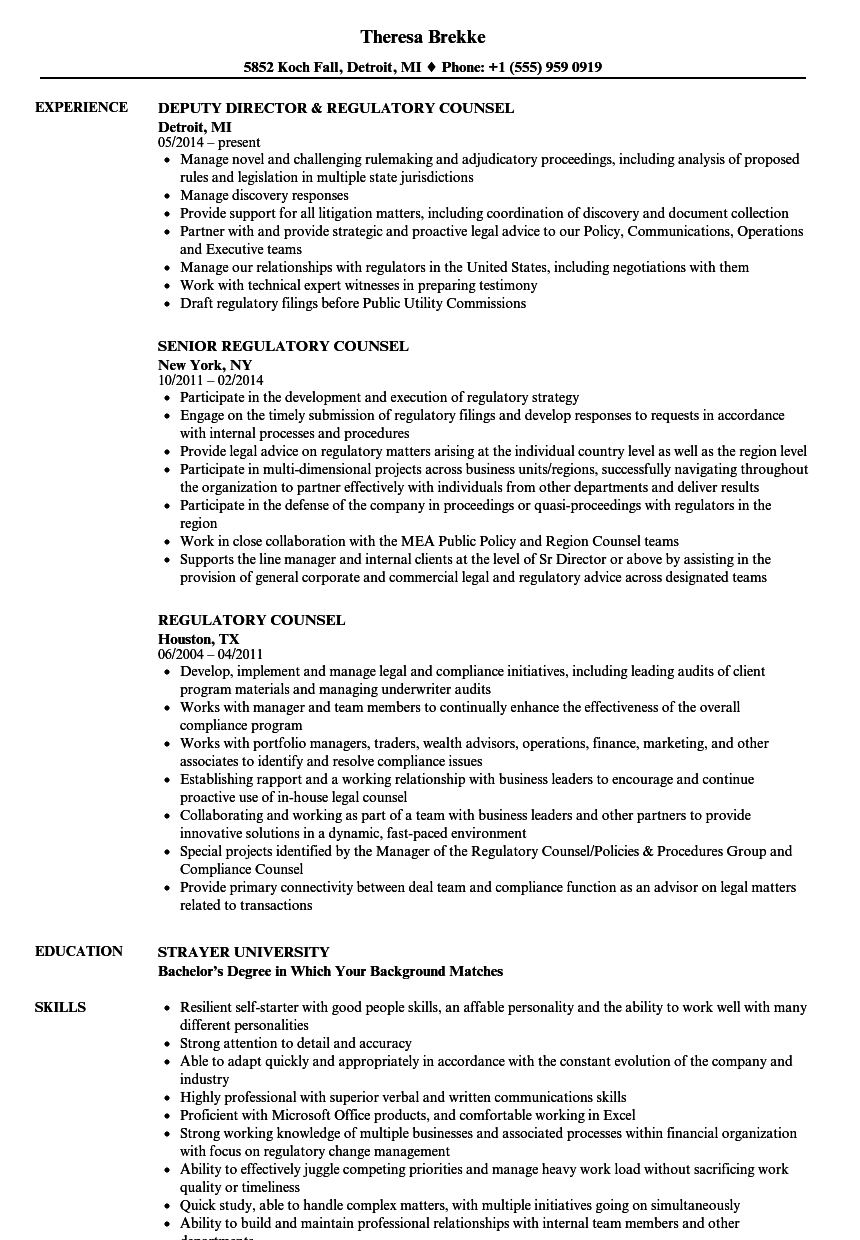 Regulatory Counsel Resume Samples