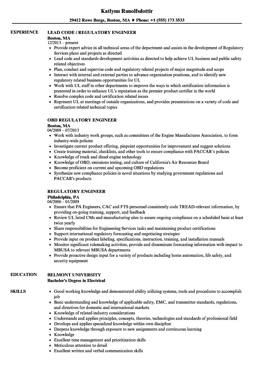 Download Regulatory Engineer Resume Sample As Image File  Engineer Resume