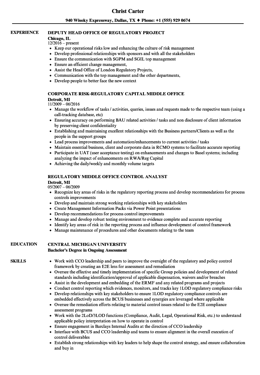 regulatory office resume samples