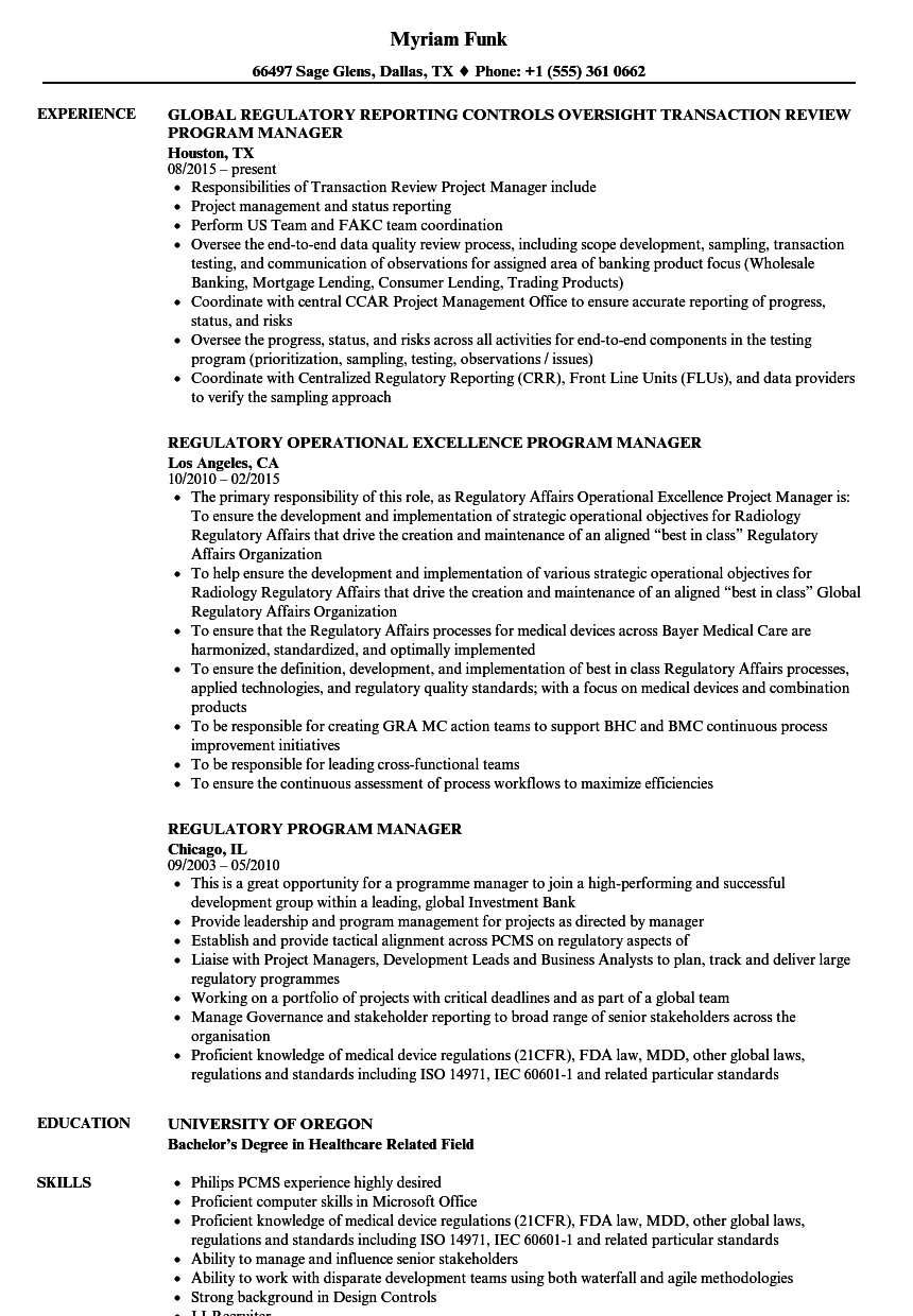 Download Regulatory Program Manager Resume Sample As Image File