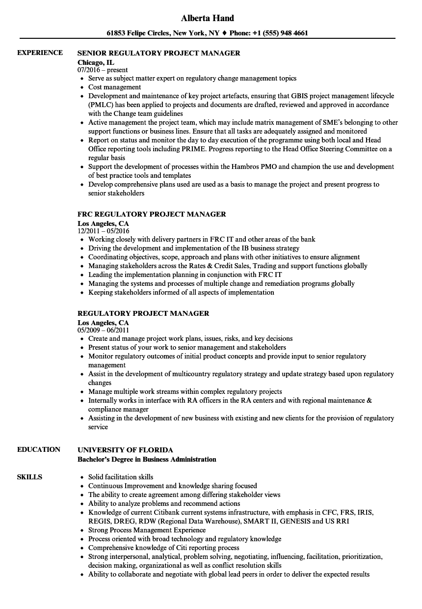 regulatory project manager resume samples