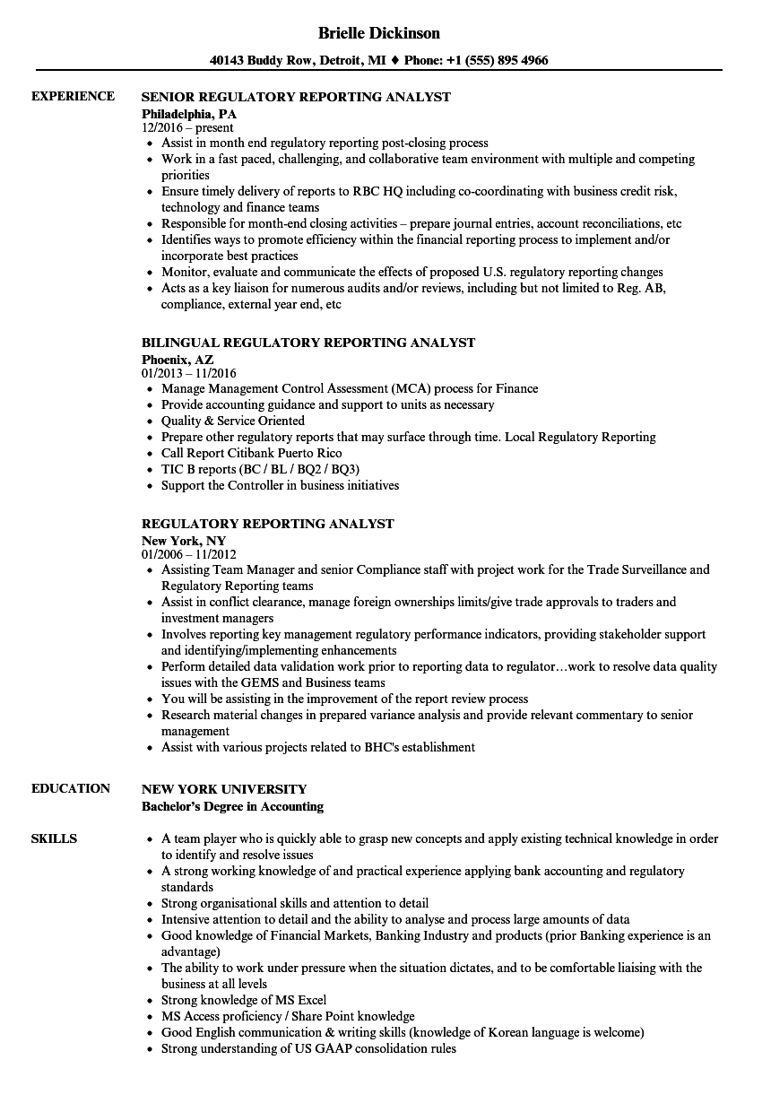 Regulatory Reporting Analyst Resume Samples Velvet Jobs