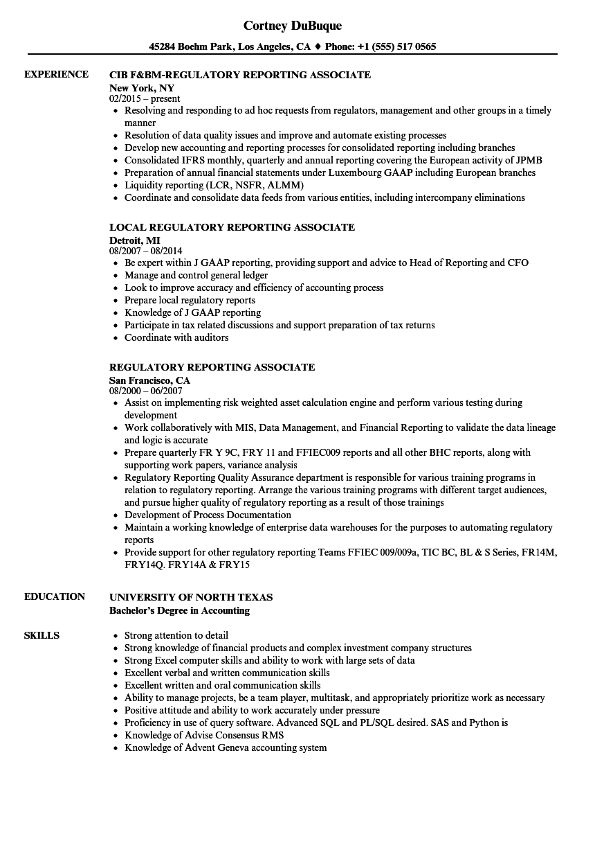 Regulatory Reporting Associate Resume Samples | Velvet Jobs