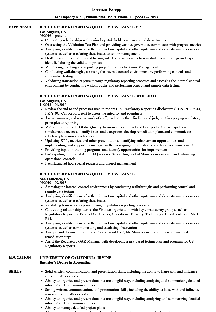 Regulatory Reporting Quality Assurance Resume Samples | Velvet Jobs