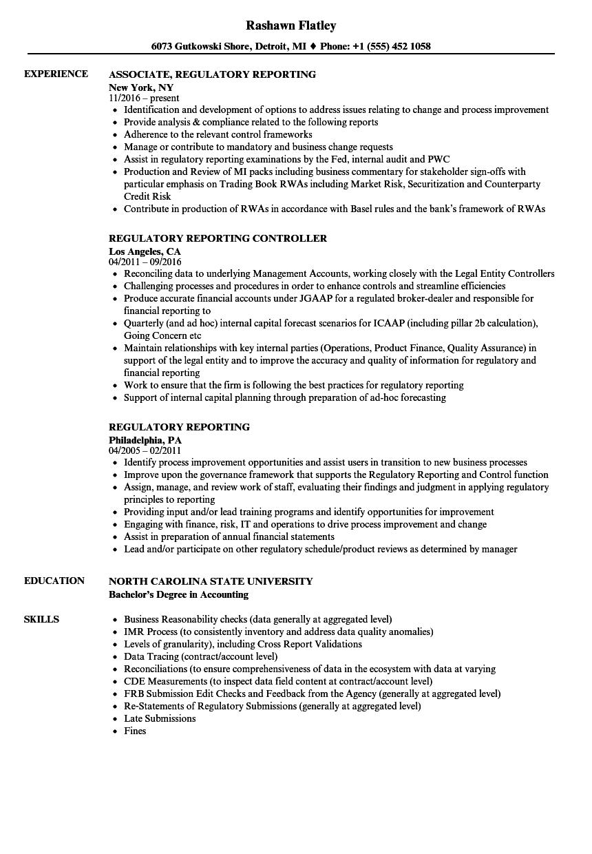 regulatory reporting resume samples
