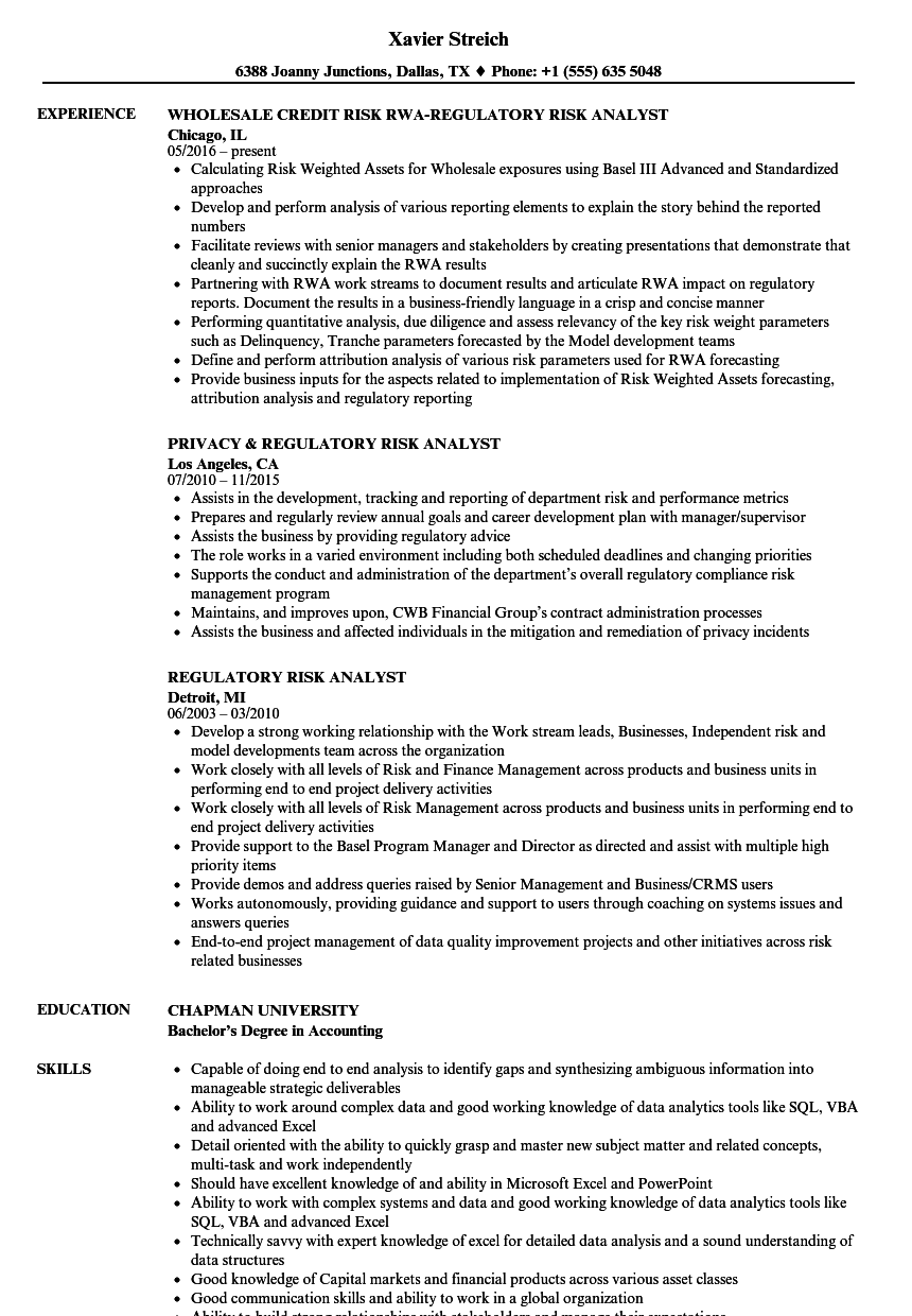 regulatory risk analyst resume samples