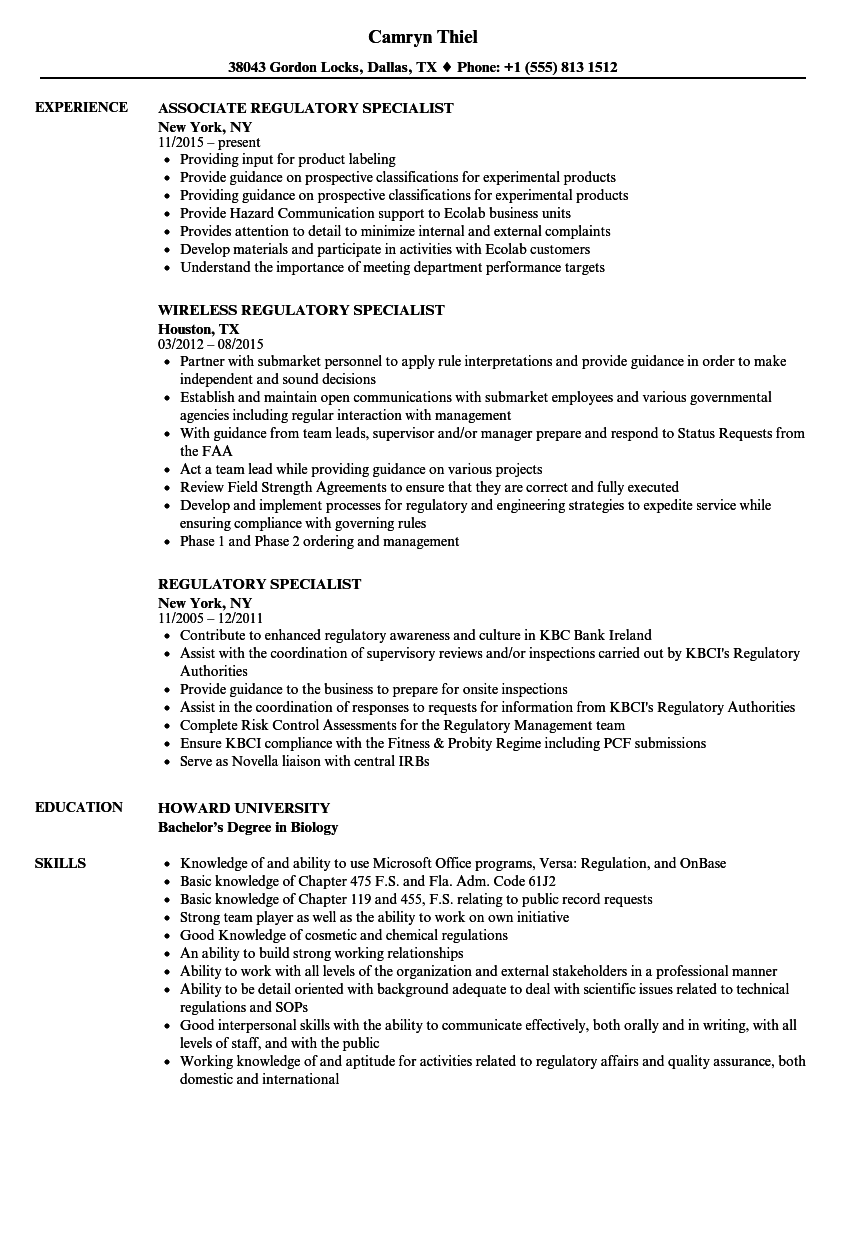 regulatory specialist resume samples