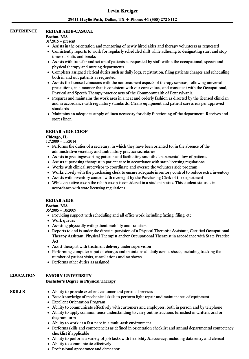rehab aide resume samples