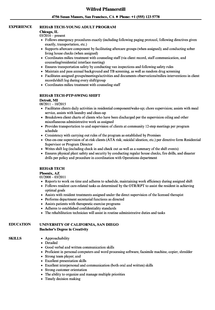 Rehab Tech Resume Samples Velvet Jobs