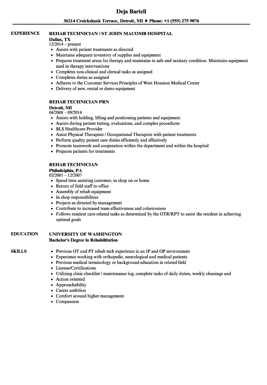 download rehab technician resume sample as image file - Hospital Resume Examples