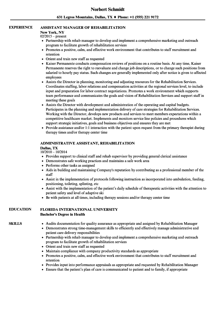 rehabilitation assistant resume samples