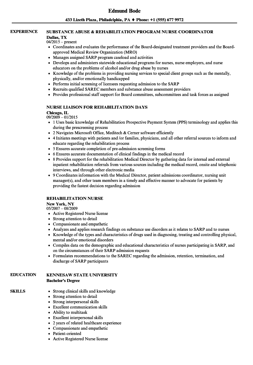 Rehabilitation Nurse Resume Samples Velvet Jobs