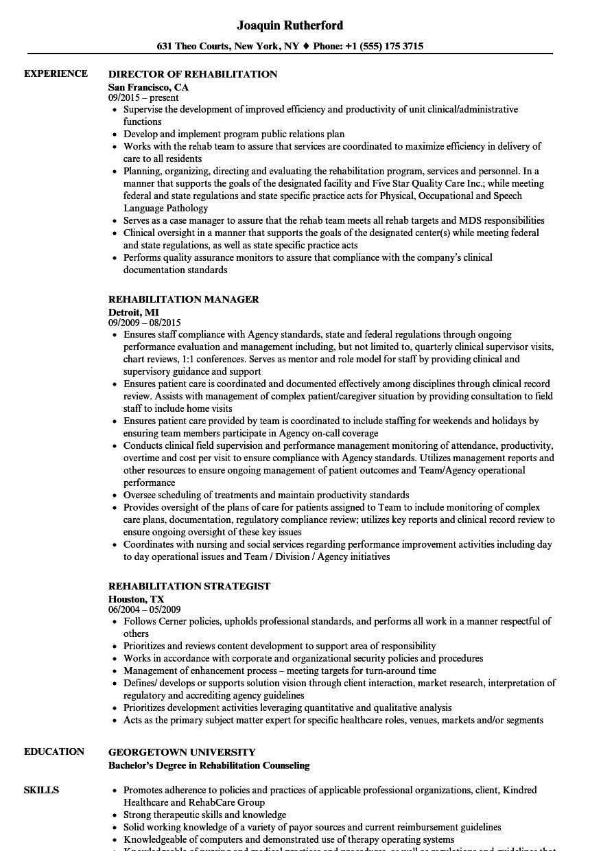 Rehabilitation Resume Samples | Velvet Jobs