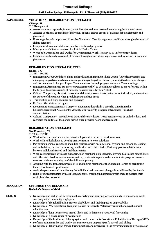 Rehabilitation Specialist Resume Samples | Velvet Jobs