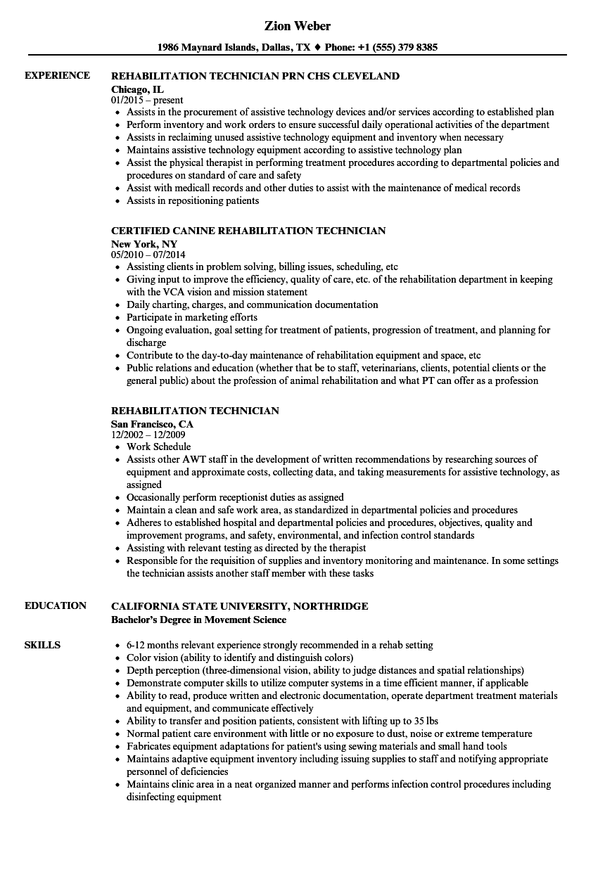 rehabilitation technician resume samples velvet jobs