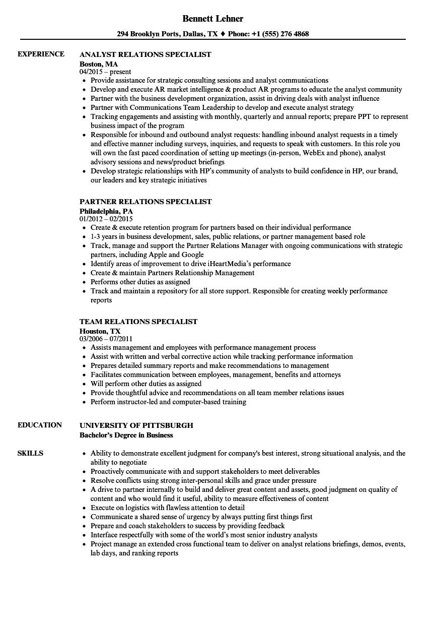 Relations Specialist Resume Samples