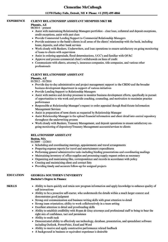 relationship assistant resume samples