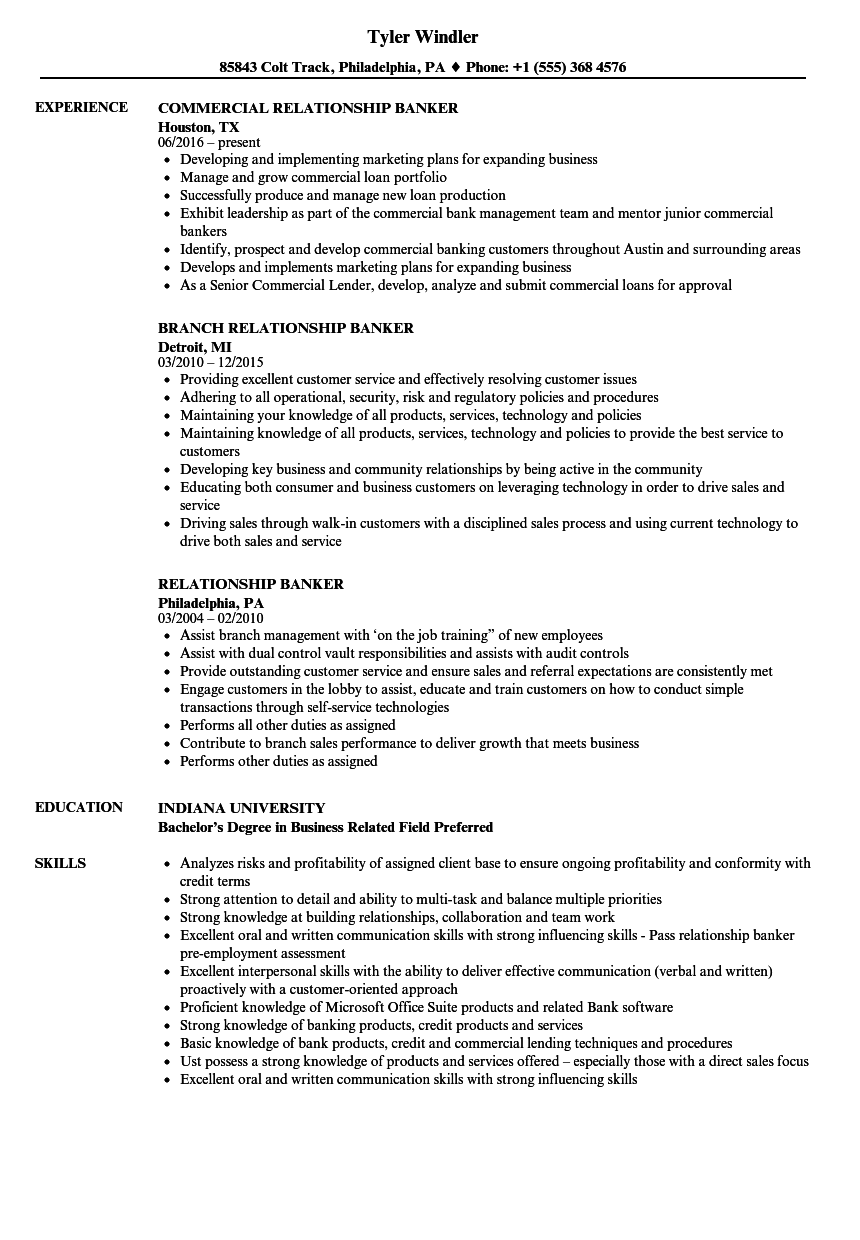 Relationship Banker Resume Samples Velvet Jobs