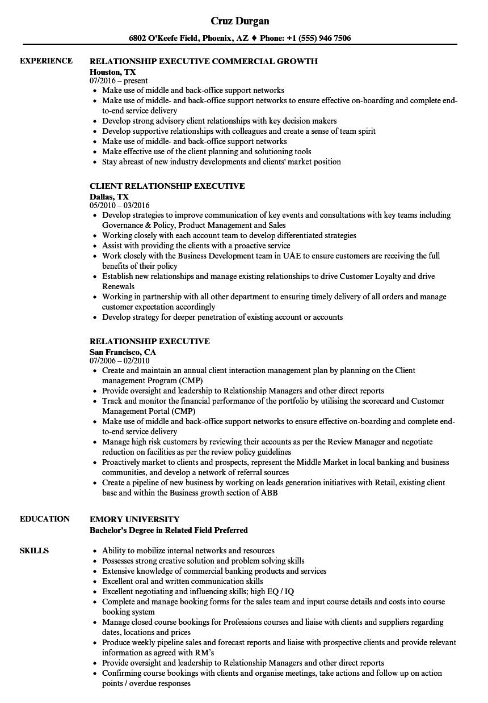 relationship executive resume samples