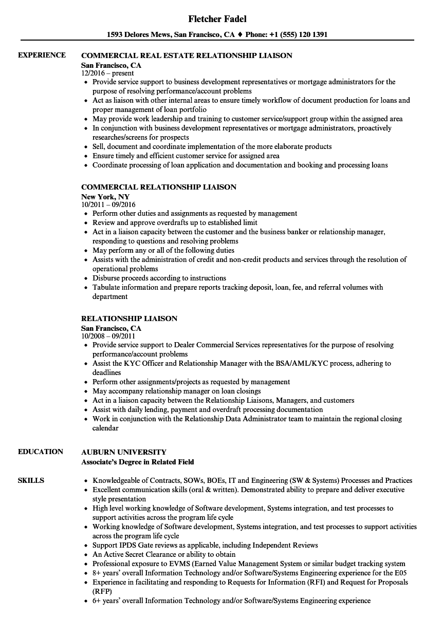relationship liaison resume samples