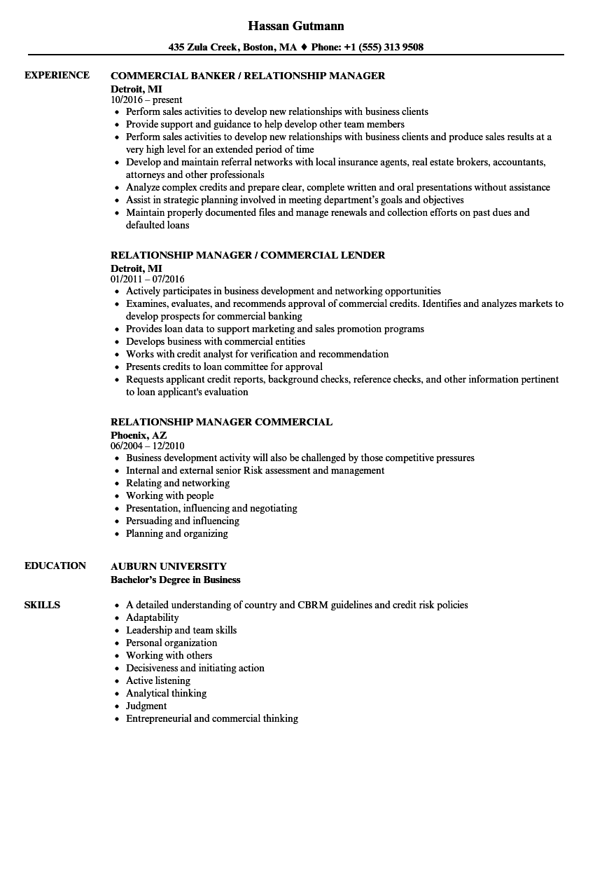 Relationship Manager Commercial Resume Samples Velvet Jobs