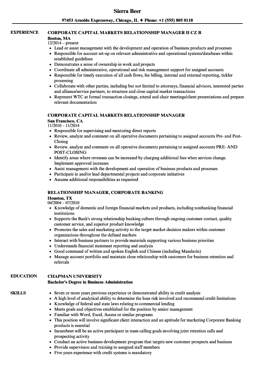 relationship manager corporate resume samples