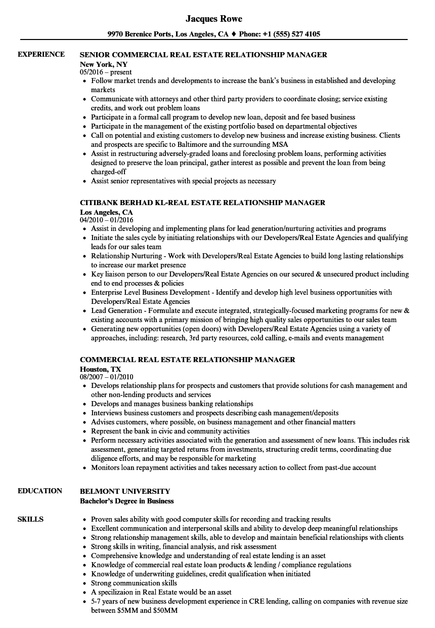 Relationship Manager, Real Estate Resume Samples | Velvet Jobs