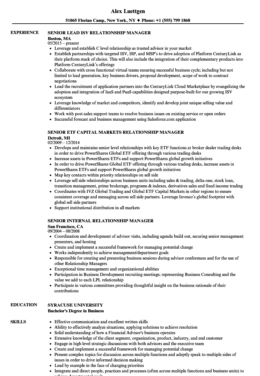 Relationship Manager Senior Resume Samples Velvet Jobs