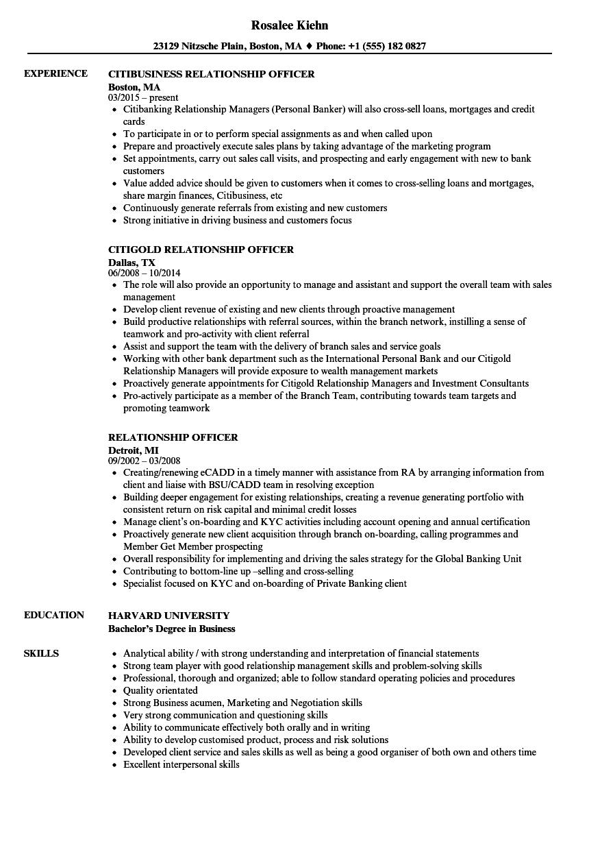 relationship officer resume samples  velvet jobs