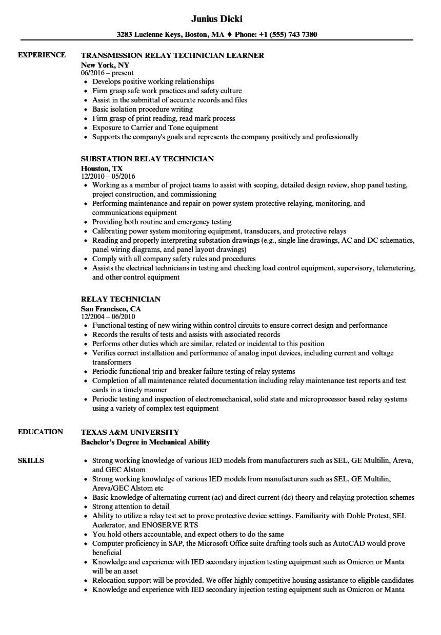 relay technician resume samples