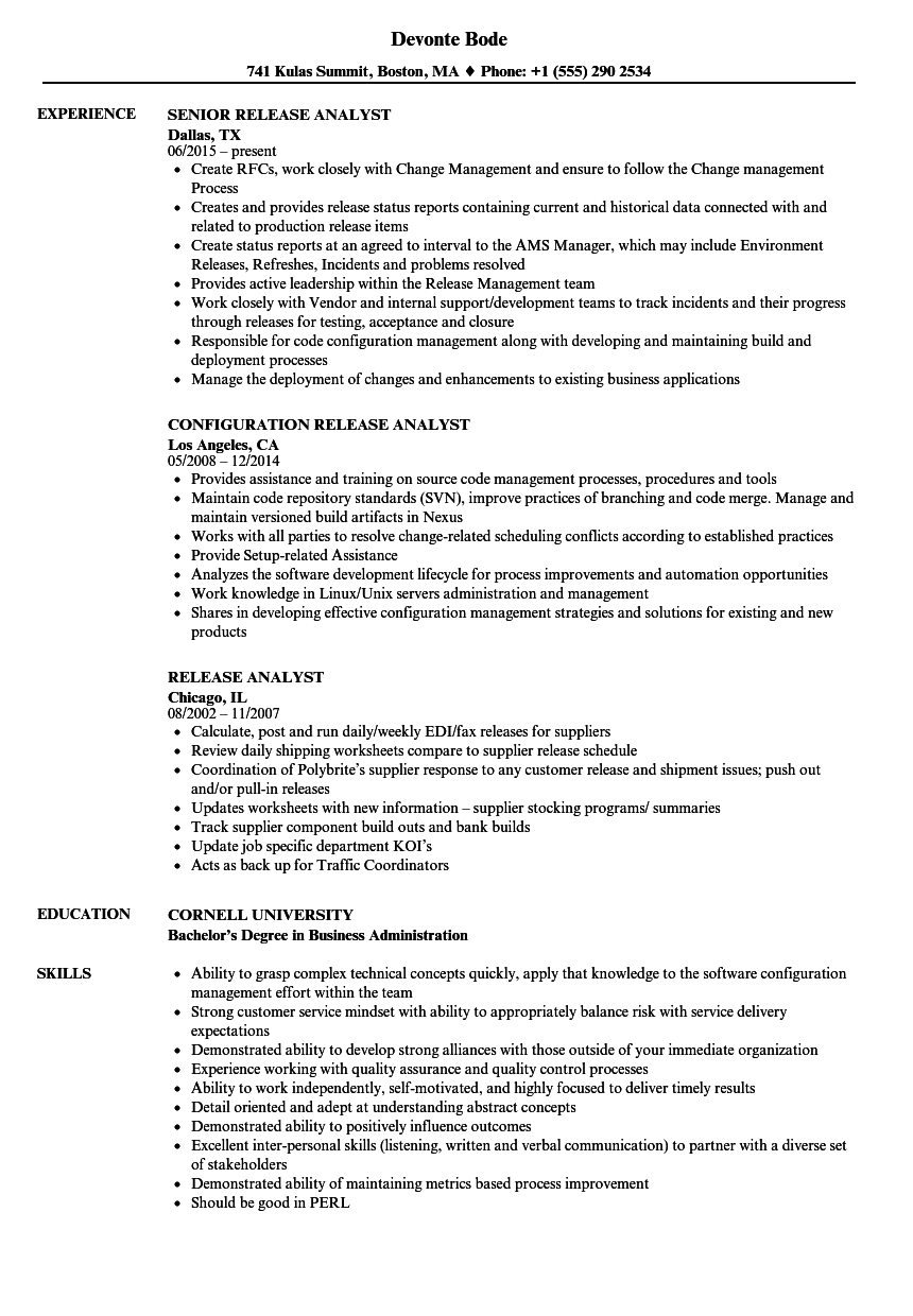 release analyst resume samples